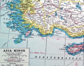 1922 Vintage Map of Asia Minor. With inset of Smyrna