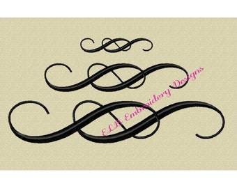 Embroidery Design - Knotted Scroll - 3 sizes - Digital File - Instant Download