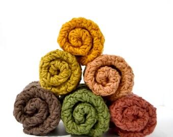 Autumn Forest Crochet Washcloth Cotton Crocheted Dishcloth, Crocheted Wash Cloth, Cotton Dish Cloth