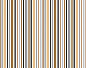 COUPON CODE SALE - End of Bolt - Riley Blake, Zoofari, Organic Cotton, Stripe, Brown Fabric, 100% Cotton Quilt Fabric, Quilting Fabric