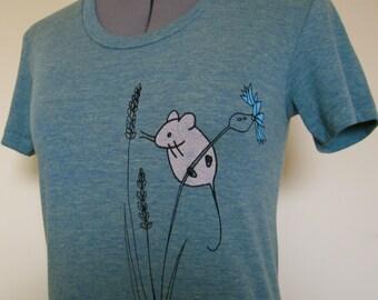 Mouse T Shirt Women Trilemon Sizes Small through XLarge