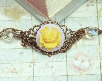 Yellow Flower Bracelet Rose Cameo Jewelry Yellow Rose Bracelet Romantic Jewelry Victorian Bracelet