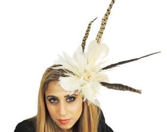 Cream/Brown Pheasant Fascinator  Hat for Weddings, Occasions and Parties With Headband