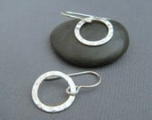"small hammered circle earrings. sterling silver dangle. open hoop earrings. modern drop earring simple minimalist jewelry. gift for her 1/2"""