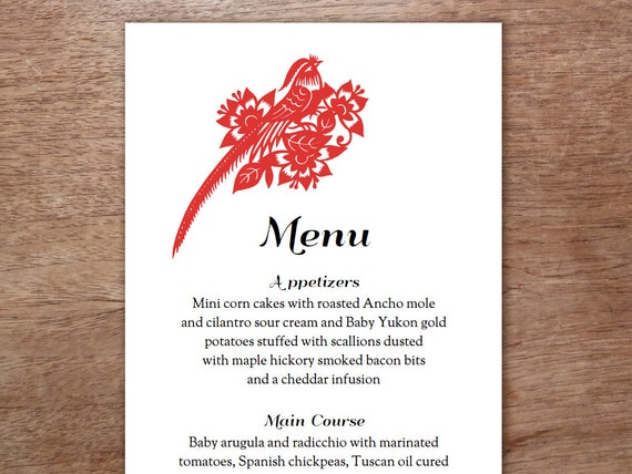 wedding menu red and black chinese paper art by empapers. Black Bedroom Furniture Sets. Home Design Ideas