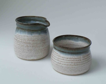 Sugar and Creamer Stoneware Set of 2, Kitchen and Dining Serving, Creamer and Sugar, Blue Gray, Speckled White, Ready to Ship Gift for Her