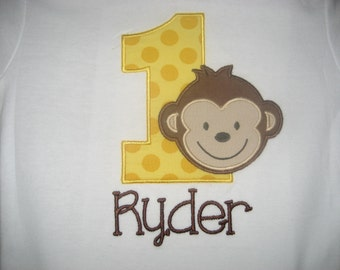 Baby boy Monkey Birthday bib, Monkey First Birthday, Baby bib
