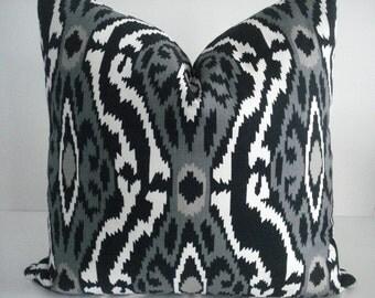 BOTH SIDES--Throws and Lumbars - Decorative  Designer Cover--IKAT-  Black-Grey-Taupe- White Throw / Toss / Lumbar Pillow- Linen Look