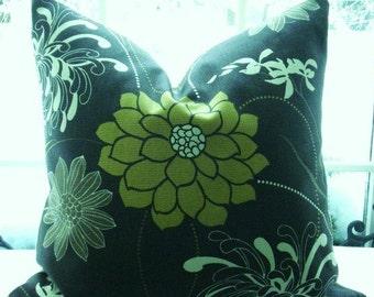 Floral Decorative Pillow Cover--Richloom-Designer Fabric - Throw Pillow- Contemporary -Espresso Brown-Citron