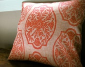 Coral Chinoiserie hand block printed floral home decor decorative peach linen pillow cover