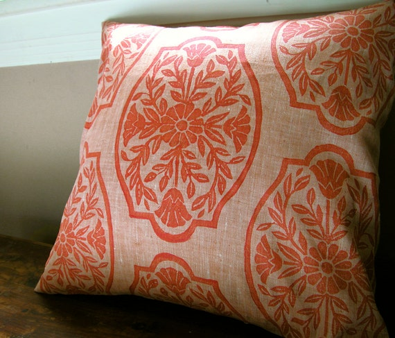 Coral Chinoiserie Floral hand block printed linen pillow case your choice of sizes