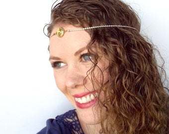 Gold and Amber Goddess Boho Circlet