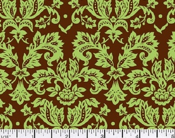 Petite Damask - Green on Brown - Half Yard