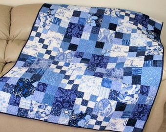 Large Quilted Throw, Lighthouses, Sea Shells, Blue and White Lap Quilt, Scrappy Patchwork Quilt, Handmade Coastal Living Blanket