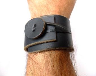 Men's Black Leather Cuff. Leather Cuff. Men's Bracelet - wrap design. Minimalist mens fashion clothing.