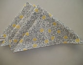 Gray and Yellow Floral Cloth Napkins Set of 12