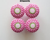 Set of 4- Bright Pink-Light Pink-Bright Green hand painted Drawer Knobs