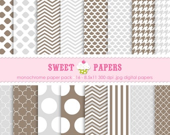 Monochrome Digital Paper Pack - Commercial and Personal Use - by Sweet Papers