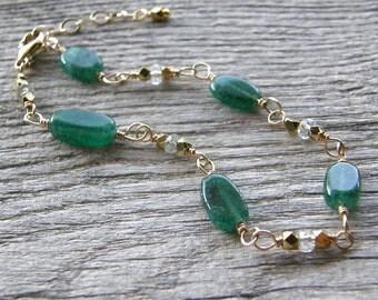 Green Onyx, Green Amethyst and Gold Bracelet, Kelly Green Gemstone Bracelet