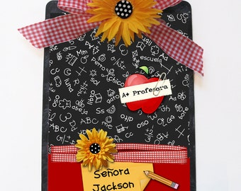 Spanish Teacher Gift Clipboard Daisy A-Plus Blackboard Personalized