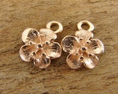 Rose Gold Charms - Cherry Blossoms - Artisan Rose Gold Vermeil Flower Charms - One Pair - ccb3drg