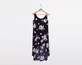 Black Floral Dress 90s Floral Print Dress Hi-Low Hem Fishtail Fish Tail Mini Dress Midi Dress 90s Dress 90s Grunge Dress XS Extra Small