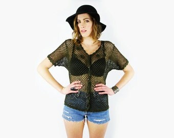 Green Crochet Sweater 70s Crochet Top Sheer Crochet Batwing Sweater Batwing Sleeve Sweater Dolman Sleeve 70s Hippie Boho S Small M Medium
