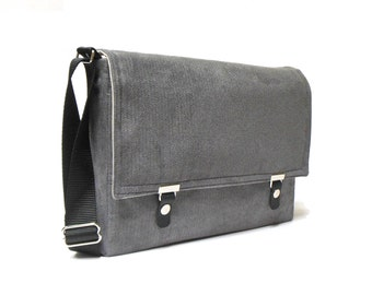 "13"" / 15"" MacBook Pro Retina messenger bag - gray herringbone"