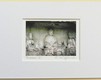 Buddha Photography, Altar Art, 5x7 Matted Asian Art, Three Buddhas Small Art Print,Meditation Yoga Art,Miniature Art,Buddha Print,Buddha Art