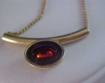 Signed SARAH COV Orange Embedded marquis Stone Embedded in Purple Glass Pendant - Gold Plate