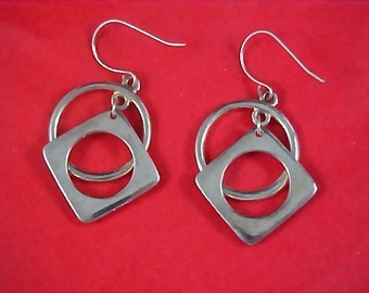 Abstract Geometrical Silver Plate Dangle French Wire Earrings