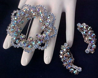 JULIANA ~ BLING~ Blue Aurora Borealis Demi Parure~Brooch~Clip Earrings