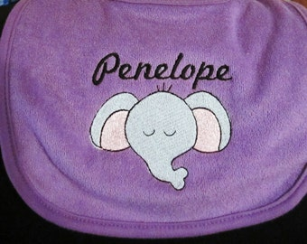 Embroidered PERSONALIZED Bib - Elephant Face- ORANGE or PURPLE