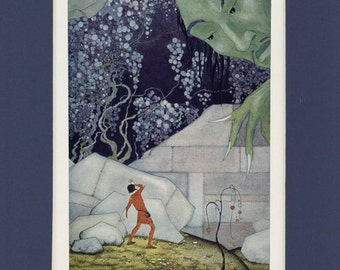 Vintage 1920 Old French Fairy Tale of the Prince and Evil One Illustration
