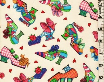 Fabric Elizabeth Quilt Diva Patchwork Fashionista Shoes Tossed Out of print rare
