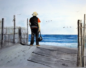 The Tourist on LBI .  SIGNED PRINTS 8 X 10 - 15.00, 11 x 14 - 25.00, 13 X 19- 35.00.Message me and I will list them for you.