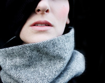 Black and White Cowl Scarf for Men or Women
