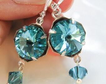 Swarovski Earrings, Rivoli Earrings, Turquoise Crystal Earrings
