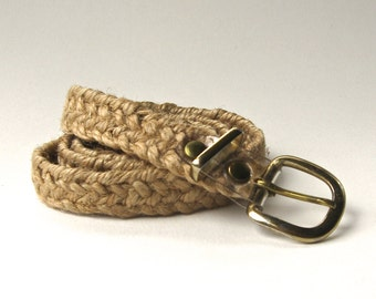 vintage Natural Narrow Woven Jute Cinch Belt