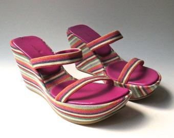 90s vintage Nine West Colorful Striped Fabric Wedge Heel Platform Sandals