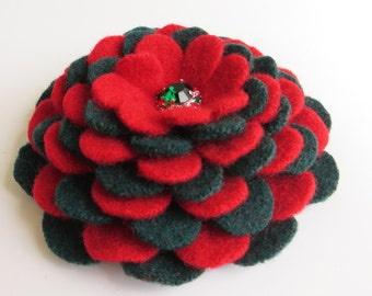 Christmas Cheer - Cashmere Flower Brooch Pin from Reclaimed Felted Wool - Christmas Secret Santa