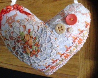 ORANGE Heart Crazy Quilt Pillow