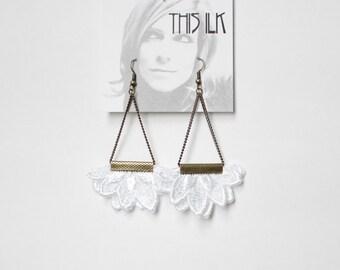 Lace earrings - NIGHTSIDE - White, black or indigo lace
