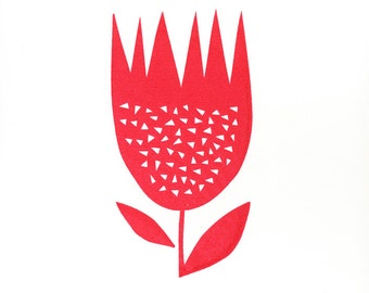 Red Flower - Hand Pulled, Signed, Gocco Screenprint