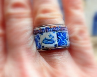 Portugal Blue Antique Azuelejo Tile Replica Ring - Individually Placed Collage  US size 6 1/2 or 16.92mm, UK N, Rabbit Stainless Steel  OOAK