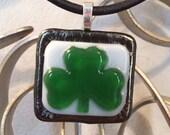Fused Glass Shamrock Irish Pendant - Notre Dame