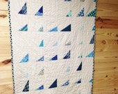 Crib Size Quilt, Scattered Scalenes, shades of blue, Boy, plush for baby, READY TO SHIP