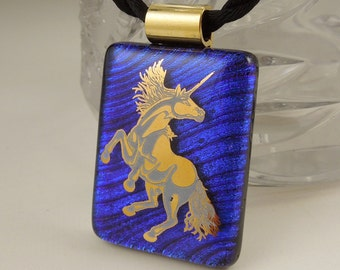 Horse Necklace - Cowboy Jewelry - Equine - Pony - Dichroic Fused Glass Pendant - Fused Glass - Image Pendant X8227