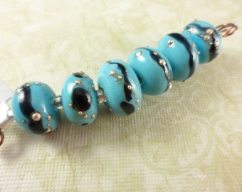 Silvered Turquoise Lampwork Beads Set SRA