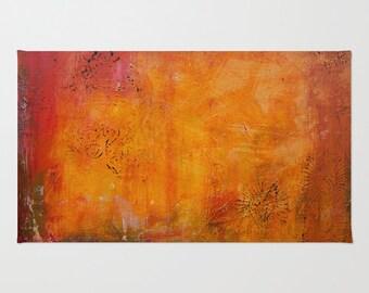 Abstract floor rug, Indian spice rug painted area rug, orange rust rug living room decor bedroom home decor, fine art carpet, rust tones rug